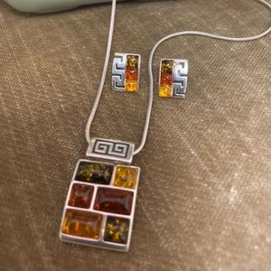 """Vintage Baltic Amber """"925 Silver Necklace/earrings"""
